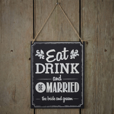 Cartellone wedding eat drink and be married