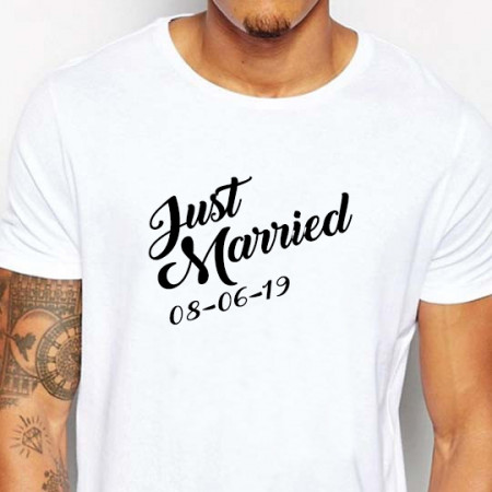 T-shirt just married uomo