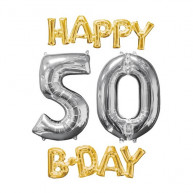 Set Palloncini Happy B-Day 50 oro e argento