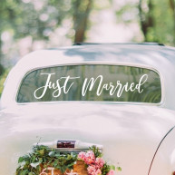 Adesivo per auto Just married bianco