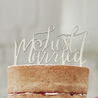 Cake topper Just married legno