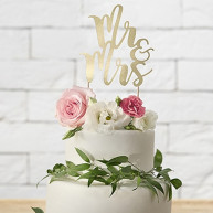 CAKE TOPPER MR E MRS ORO