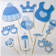 Kit per photo booth It's a boy azzurro 10 pezzi