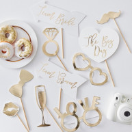 Kit per photobooth Gold wedding 10 pezzi
