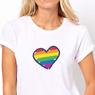 T-shirt wedding cuore arcobaleno donna