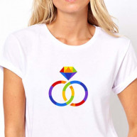 T-shirt wedding fedi color donna