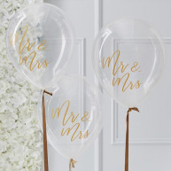Palloncini Mr e Mrs gold wedding 5 pezzi