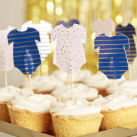 Cupcake toppers navy pink 12 pezzi