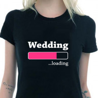 T-shirt wedding loading nera donna
