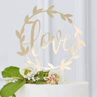 Cake topper love gold wedding