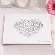 Guest book Cuore vintage silver