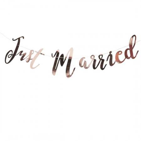 Banner just married gold rosa