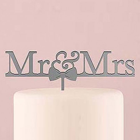 Cake topper Mr & Mrs argento