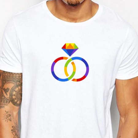 T-shirt wedding fedi color uomo bianca