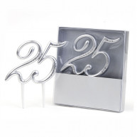 Cake topper 25 argento e diamanti