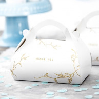 "Cake box White&Gold ""Thank you"" 10 pezzi"
