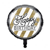 Palloncino Happy Birthday Black & Gold 18""