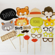 Kit per photo booth party animal 24 pezzi