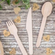 Set posate in legno Natural wedding 18 pezzi