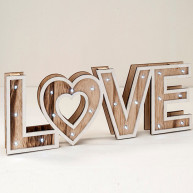 Cartello in legno LOVE con luce a led