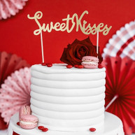 Cake Topper Sweet Kisses glitter gold