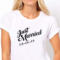 T-shirt just married donna