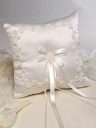 WEDDING RING PILLOW EMBROIDERED BEADS