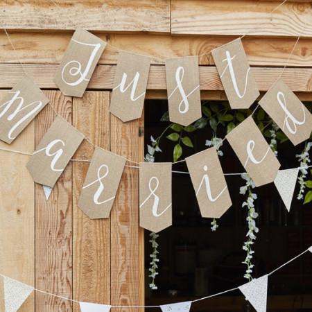 Banner just married rustico