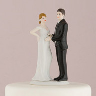 EXPECTING BRIDAL COUPLE FIGURINE CAKE TOPPER