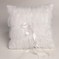 WEDDING RING PILLOW PLEATED ORGANDIE