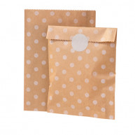 Sand polka dot bags for candy buffet with closure 12 pcs