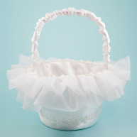 WHITE CIRCULAR BASKET