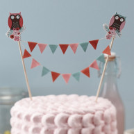 CAKE TOPPER FLAGS OWLS