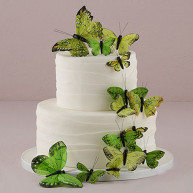 CAKE TOPPER - 24 GREEN BUTTERFLIES