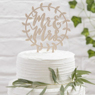 Cake topper ghirlanda legno mr e mrs