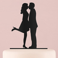 BLACK SILHOUETTE CAKE TOPPER KISS