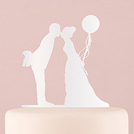 WHITE SILHOUETTE CAKE TOPPER BRIDE WITH BALLOON