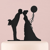 BLACK SILHOUETTE CAKE TOPPER BRIDE WITH BALLOON