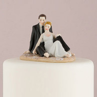CAKE TOPPER - BRIDE AND GROOM AT THE SEA-SIDE