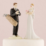CAKE TOPPER - BRIDE AND GROOM GOLF