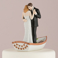 CAKE TOPPER - BRIDE AND GROOM ON BOAT