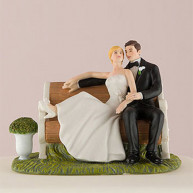 CAKE TOPPER - BRIDE AND GROOM IN THE GARDEN