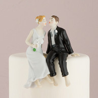 CAKE TOPPER - BRIDE AND GROOM SITTING TOGETHER