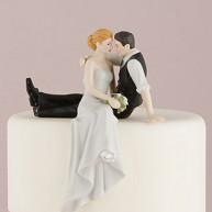 CAKE TOPPER - BRIDE AND GROOM SITTING ON THE CAKE