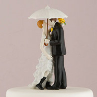 CAKE TOPPER - BRIDE AND GROOM IN THE RAIN