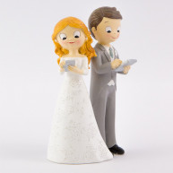 Cake topper sposi tablet