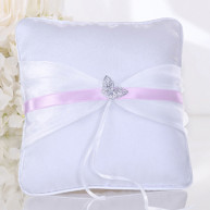 WEDDING RING PILLOW BUTTERFLY PINK RIBBON