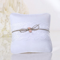 WEDDING RING PILLOW LACE AND RAPHIA