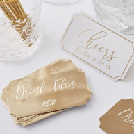 Drink pass gold wedding 25 pezzi
