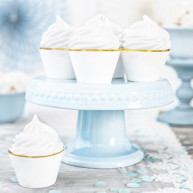 Wrapper per cupcake white and gold 6 pezzi